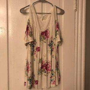 white floral blouse.